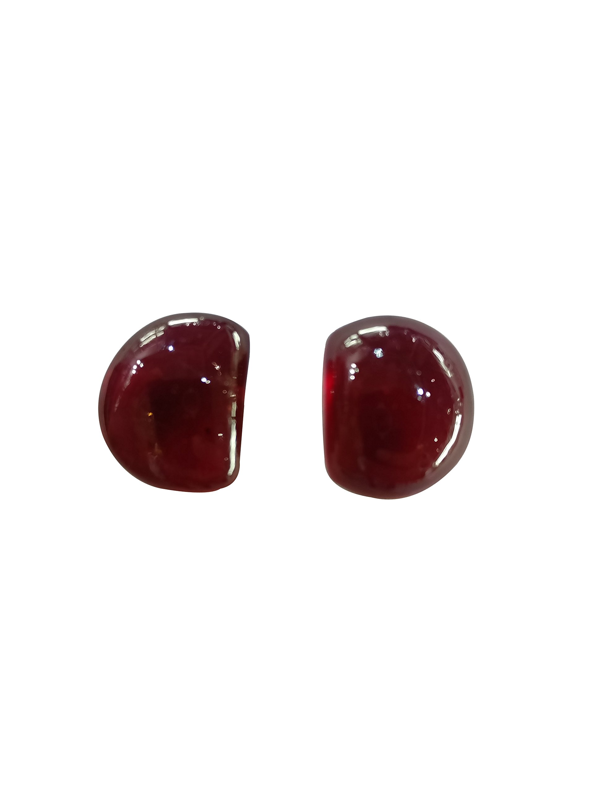 My DT Lifestyle Natural Ruby Glass Filled Gemstone Fancy Shape Cabs Pair Precious Loose Stone