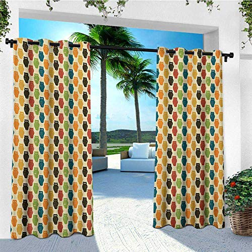 leinuoyi Owls, Outdoor Curtain Panel Design, Retro Styled Colorful Animal Silhouettes with Grunge Display Halloween Inspirations, Fashions Drape W108 x L96 Inch Multicolor -