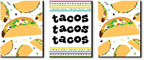 Amazon Com Big Dot Of Happiness Taco Bout Fun Kitchen Wall Art And Mexican Restaurant Decor Ideas 7 5 X 10 Inches Set 3 Prints Posters