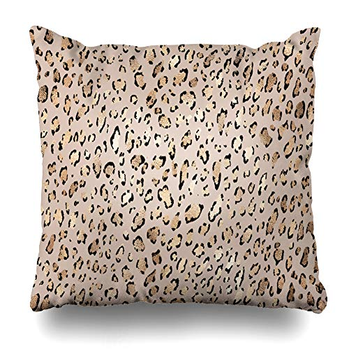 Ahawoso Throw Pillow Cover Foil Beige Skin Leopard Gold Shining Spots Abstract Pattern Brown Black Bronze Celebrate Chic Design Home Decor Zippered Pillowcase Square 18x18 Decorative Cushion Case