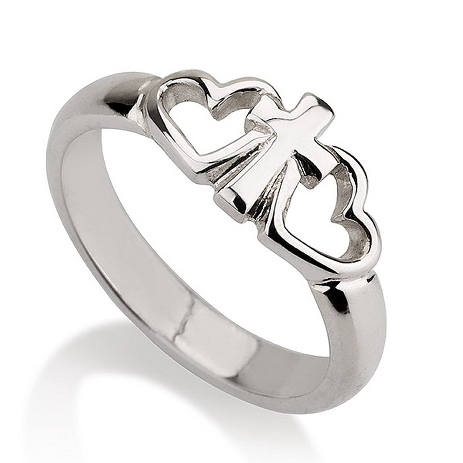 Amazoncom Sterling Silver Cross Ring with Two Hearts Heart Ring