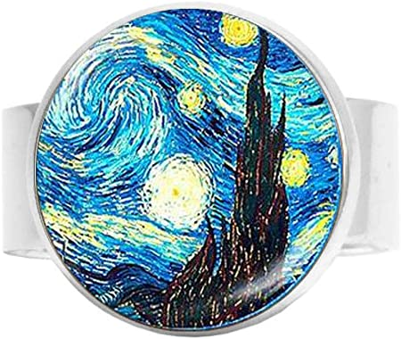 Adjustable ring maxi the stared night VanGogh inspired in plexiglass and laser-carved acrylic wears the art