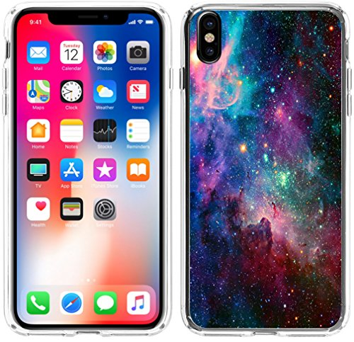 Case for iPhone X,Hungo Soft TPU Silicone Protector Cover Compatible for iPhone X(10)/XS(10S) Shiny Beautiful Space Galaxy View