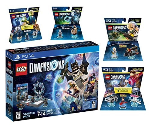Lego Dimensions Time Traveler Starter Pack + Doctor Who Level Pack + Cyberman Fun Pack + Back To The Future Marty McFly Level Pack + Doc Brown Fun Pack for Playstation 4 or PS4 Pro Console by WB Lego