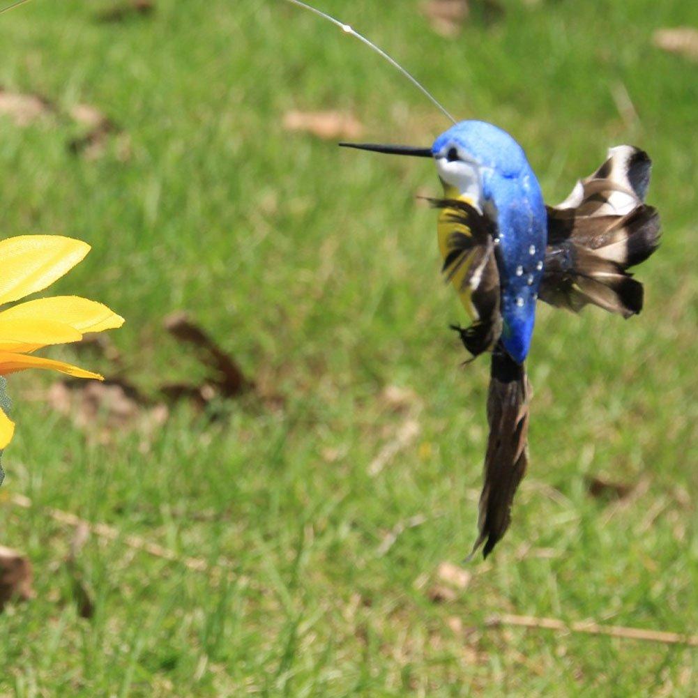 Ragdoll50 2 Pcs Solar Powered Flying Fluttering Hummingbird, Funny Beautiful Flying Birds Solar Yard Garden Plants Flowers Stake Ornament Decor