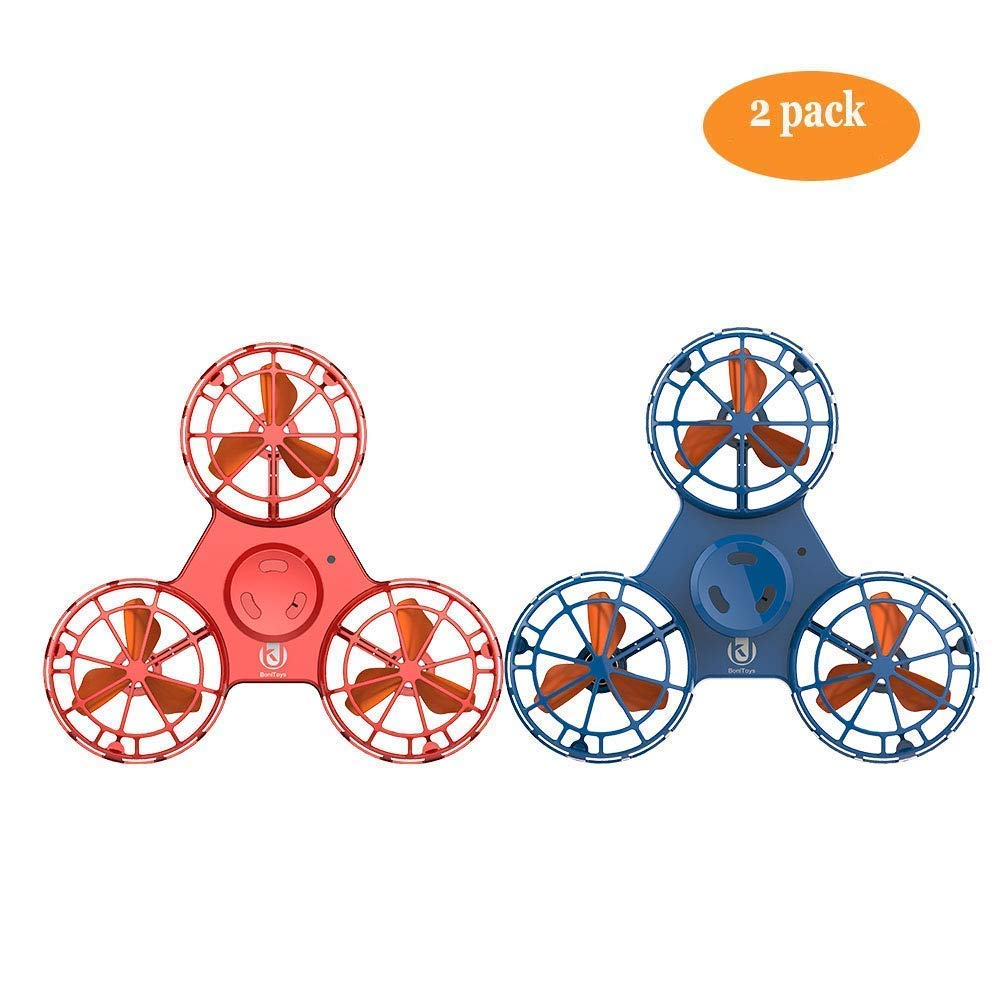 ROHSCE Novelty Tiny Flying Drone Toys, ADHD Relieving Reducer 4 Mode Playing Optional Fidget Rotation Triangle Toys Funny Drone Interactive Games for Kids Adults (Blue and Red)
