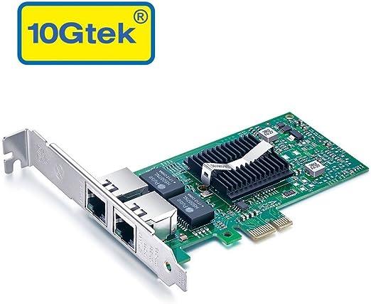 10Gtek for Intel 82576 Chip 1.25G Gigabit Ethernet Converged Network Adapter (NIC), Dual RJ45 Copper Ports, PCI Express 2.0 X1, Same as E1G42ET