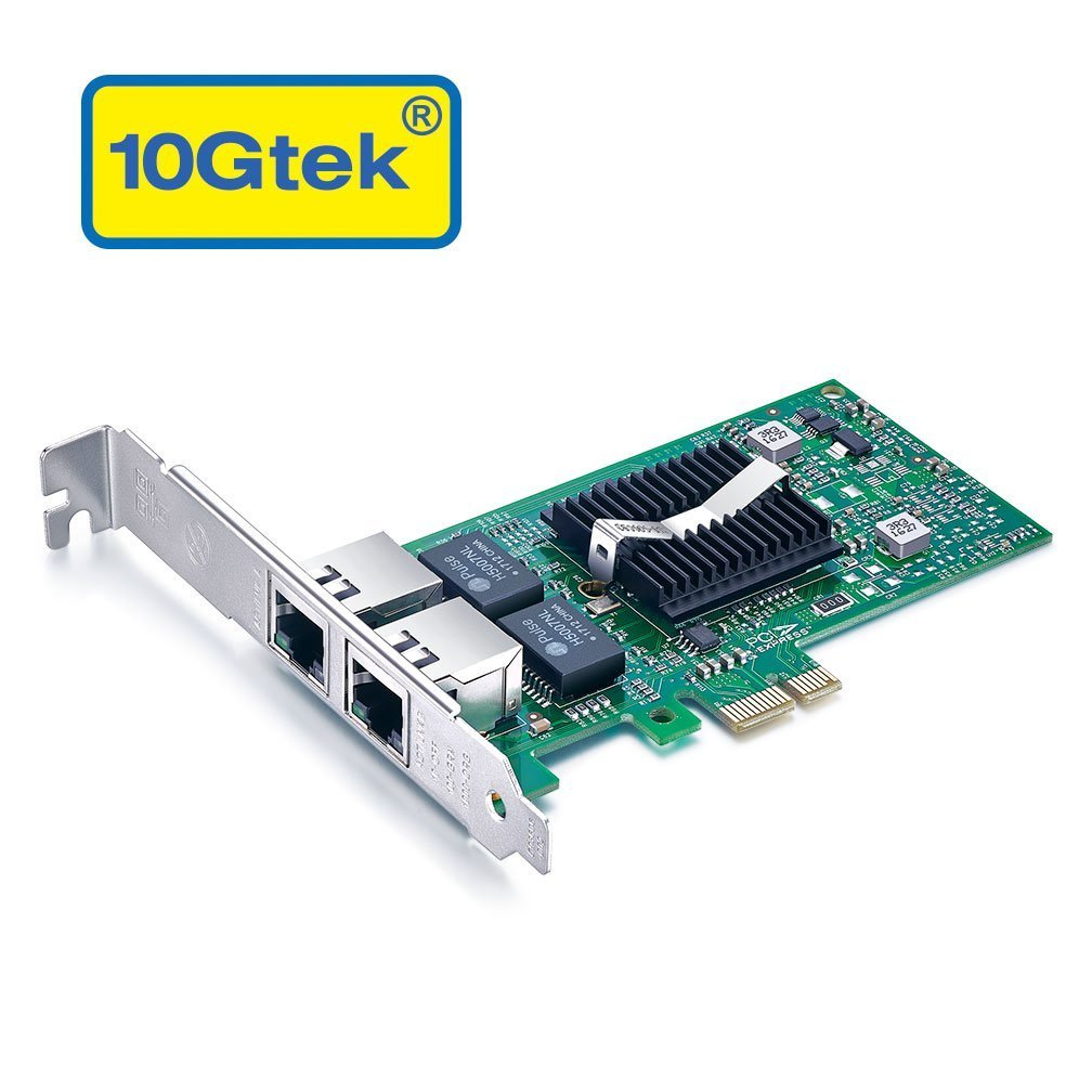 10Gtek for Intel 82576 Chip 1.25G Gigabit Ethernet Converged Network Adapter (NIC), Dual RJ45 Copper Ports, PCI Express 2.0 X1, Same as E1G42ET by 10Gtek