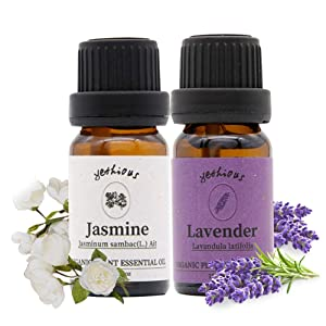 Yethious Jasmine Lavender Essential Oil Kit Organic 100% Pure Aromatherapy Gift Oil Set 2 Pack