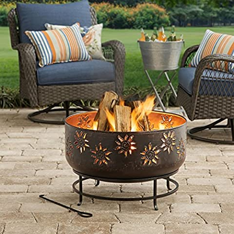 Sunburst Design Round Pure Iron Wood Burning Fire Pit (Two Dogs Designs Fire Pit Cover)