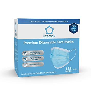 Earloop Mask Box Face Disposable Soft Premium 125ct 3-ply