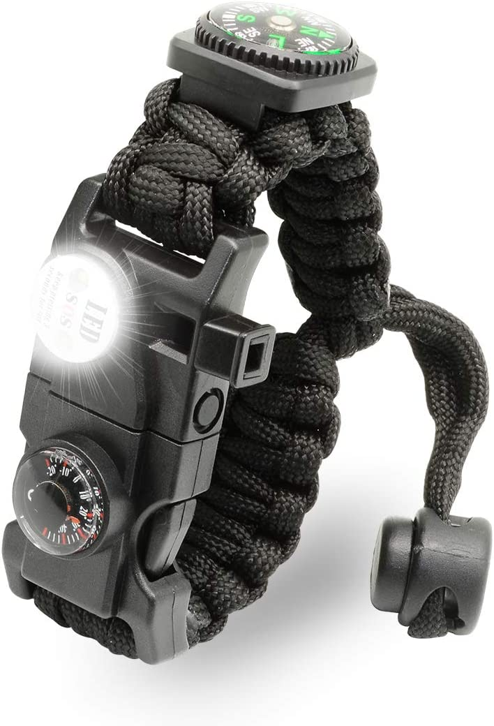 LeMotech 21 in 1 Adjustable Paracord Survival Bracelet