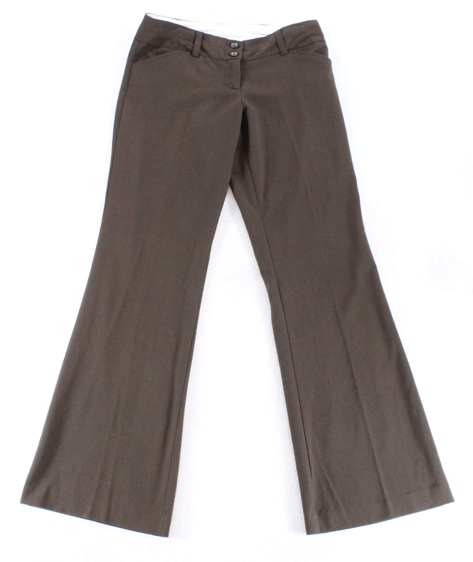 XOXO Solid Junior Stretch Straight Leg Dress Pants Brown 4 by XOXO