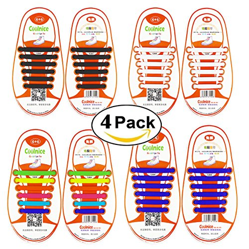 Shackcom No Tie Flat Shoelaces 4 Pack For Kids, Men & Women | Waterproof & Stretchy Silicone Tieless Shoe Laces | For Athletic & Dress Shoes, Hiking Boots & More | Eliminate Loose Shoelace Accidents