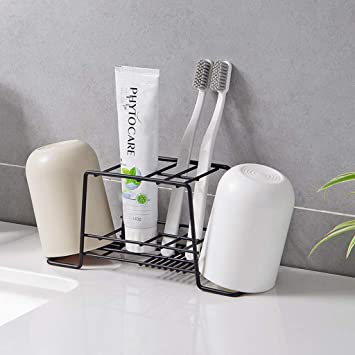 Bathroom Toothbrush Holder Suction Wall Mount Stand Rack Toothpaste Dispenser