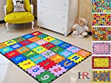 Hrandcraft Rugs Kids Rugs. Educational, Learning Abcd Puzzle .Rubber Back. Non-Slip Educational/Play Time.Multi Color.