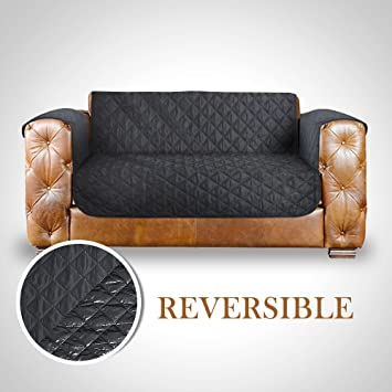Deluxe Quilted LoveSeat Cover,Metacrafter Reversible Waterproof Sofa  Furniture Protectors With Elastic Strap,Anti
