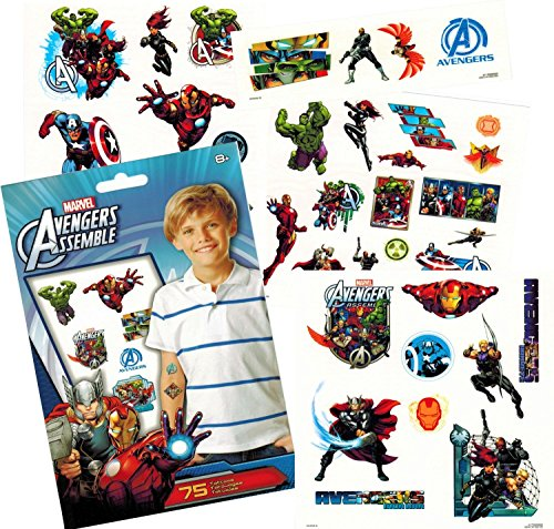 Tattoos Five Temporary - Marvel Avengers Temporary Tattoos (75) Iron Man, Thor, Hulk, Captain America and More!