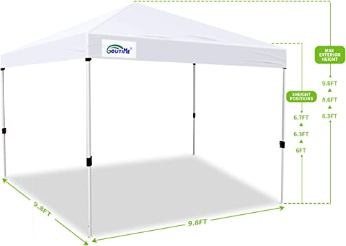 Goutime 10 x 10 Ft Ez Pop Up Canopy Tent with White Mesh Side Walls, Outdoor Screen House Room with Wheeled Carry Bag,Bonus 4 Canopy Sand Bags,Suitable for All Seasons