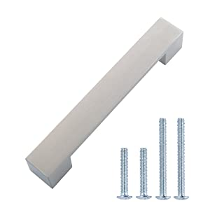 "AmazonBasics Short Modern Cabinet Handle, 6.38"" Length (5"" Hole Center), Satin Nickel, 10-Pack"
