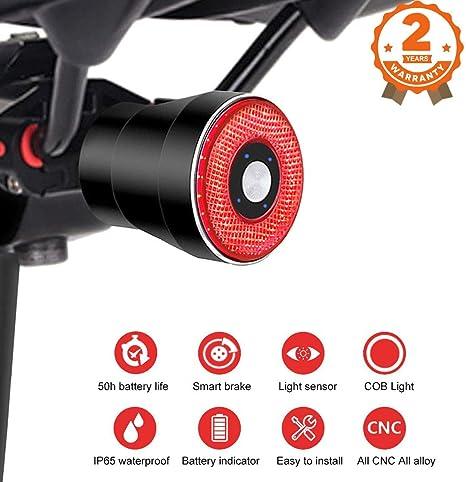 EBUYFIRE Luz Trasera de Bicicleta Inteligente Recargable USB, Super Brillante Rojo Luz LED Bici, Impermeable, Faro Trasero Bici para Máxima Seguridad de Ciclismo: Amazon.es: Deportes y aire libre