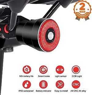 EBUYFIRE Luz Trasera de Bicicleta Inteligente Recargable USB ...