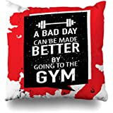 Throw Pillow Cover Sports Red Slogan Motivation About Gym Fitness Workout Dumbbell Abstract Recreation Action Active Home Decor Pillow Case Square Size 18 x 18 Inches Zippered Pillowcase