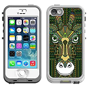 Skin Decal for LifeProof Nuud Apple iPhone 5 Case - Aztec Giraffe Head Green