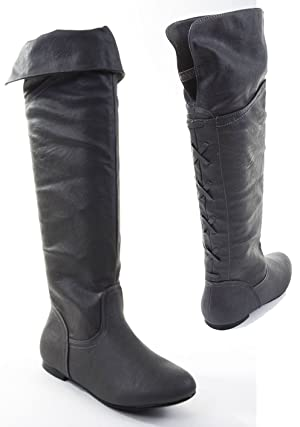 Black Pirate Over the Knee Riding Vegan Leather Boots Womens