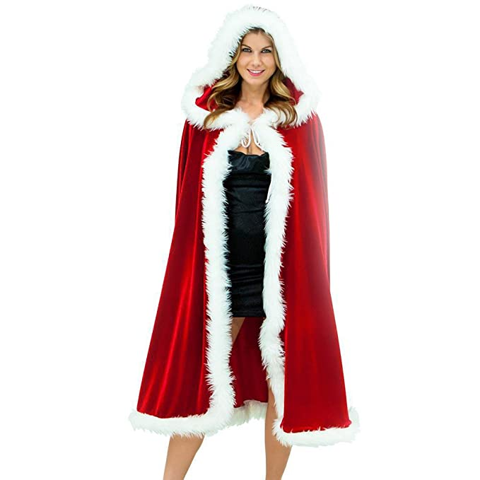 Victorian Wraps, Capes, Shawl, Capelets Womens Hoodie Cloak Fancy Dress Cape Velvet Shawl for Christmas Party  AT vintagedancer.com