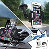 TidalTek Cell Phone Car Mount + USB Charger Adapter. Air Vent/Windshield 2-in-1 Smartphone/GPS Holder w/3-Sided Grip Cradle. Fits iPhone 8/7/7+/6S/6+/5S, Samsung Galaxy S5/S6/S7/S8, Google, LG & More