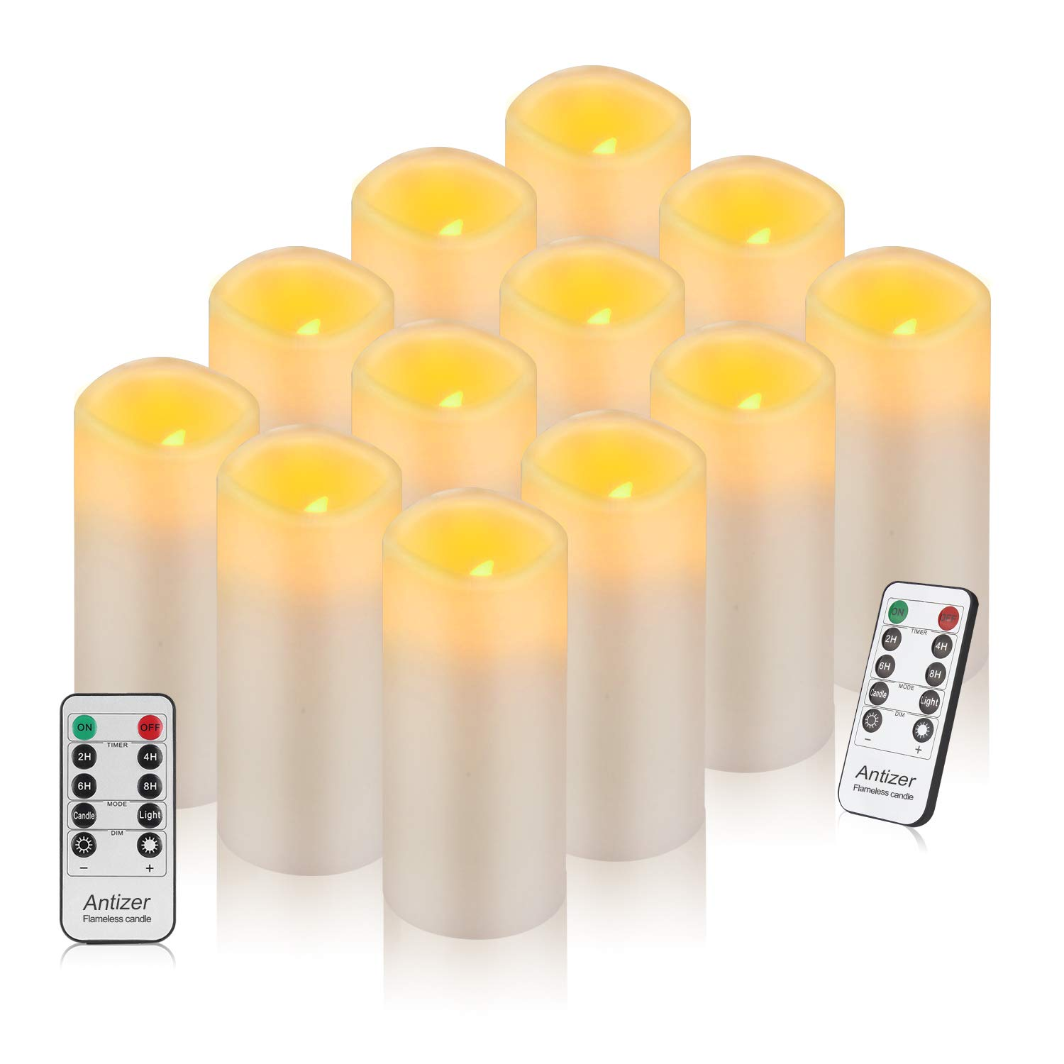 Antizer Flameless Candles Battery Operated LED Candles 2.2'' D X 5'' H Pack of 12 Real Wax Pillar Candles Ivory Color Include Remote with 24 Hours Timer Function