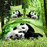 3d Animal Two Lovely Panda Print Bedding Set, Queen Size 100% Cotton 3d Bedding Set, 4PCS with Duvet Cover, Bed Sheet, 2*Pillow Case(Comforter Not Included)
