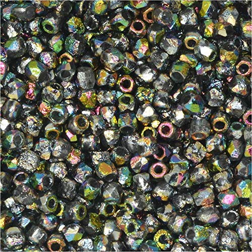 - True2 Czech Fire Polished Glass Beads, Faceted Round 2mm, 200 Pieces, Etched Crystal Full Vitrail