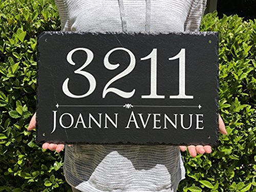 "Beautifully Handcrafted and Customizable Slate Home Address Plaque (16""x10"" 12''x6'' or 18""x8"") Personalized House Sign with and mounting hardware. Improve the curb appeal of your property by Sassy Squirrel (Image #1)"