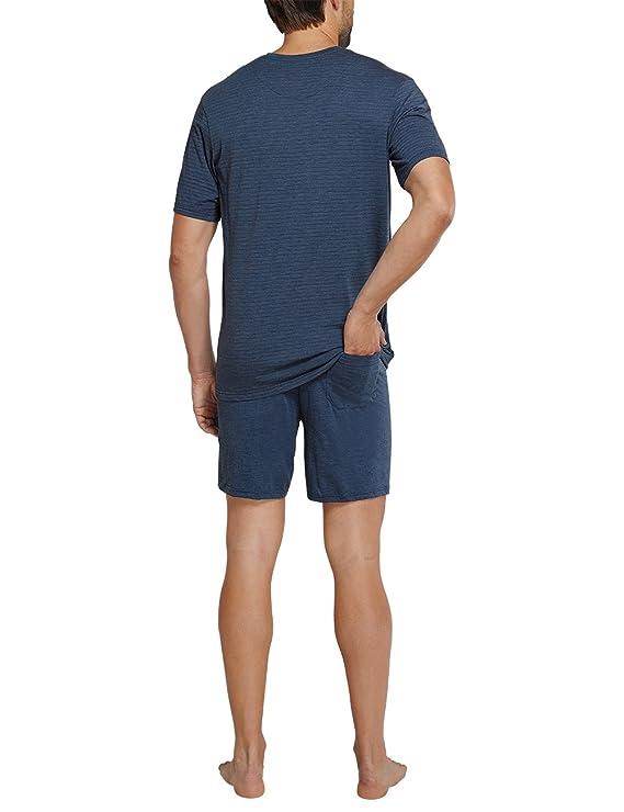 Schiesser Herren Zweiteiliger Schlafanzug Funktionswäsche Anzug Kurz, Blau (Dunkelblau  803), Small (Herstellergröße:048): Amazon.de: Bekleidung