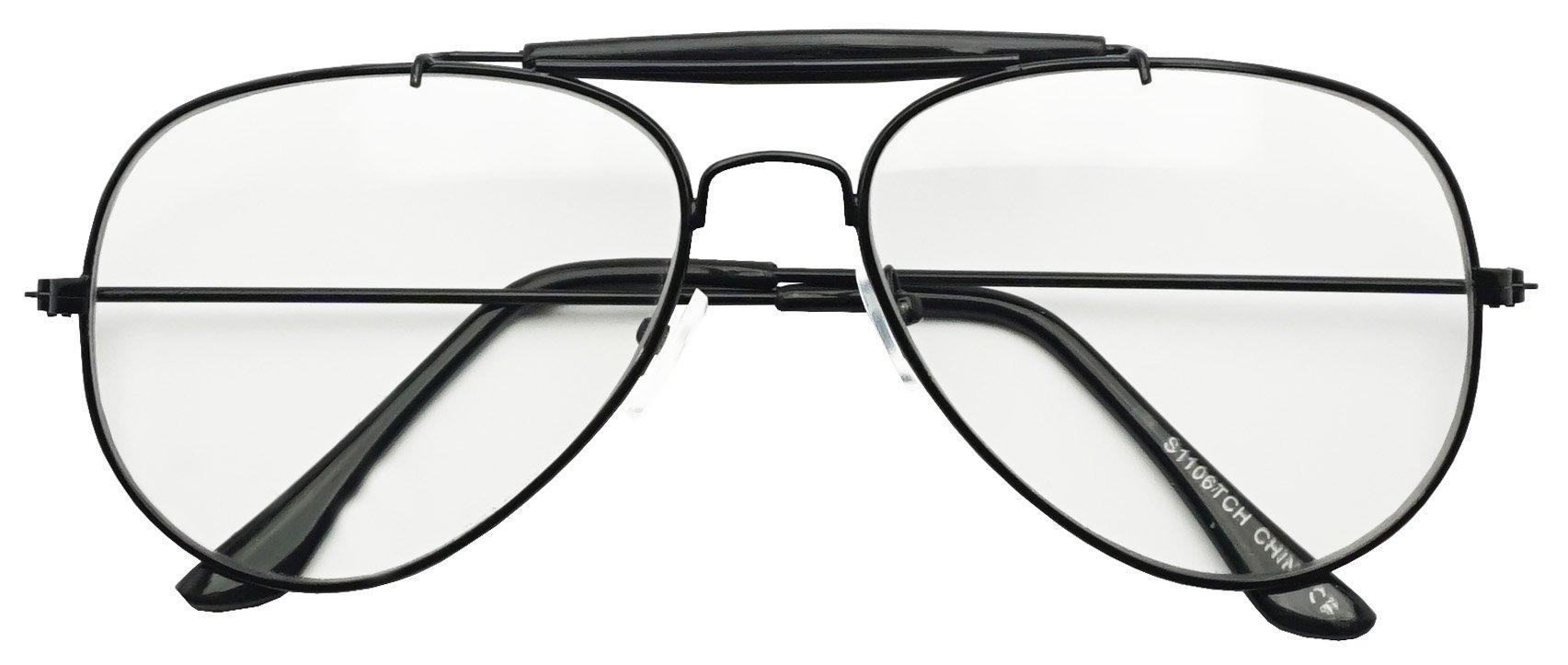 Photochromic Adaptive Clear Lens Aviator Glasses W/Sun Senor Transition Light Tinted Sunglassses (Black, 60) by SunglassUP