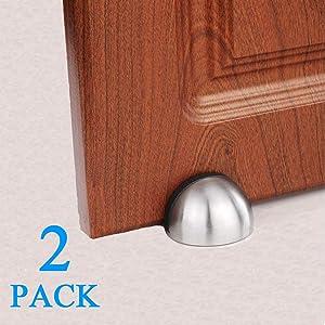 2 Pack Door Stopper, 3M Adhesive Door Holder Door Stop, Stainless Steel Brushed Door Stop for Home Hotel, No Need to Drill Floor Door Stop, Door Stopper Set with Rubber Bumper