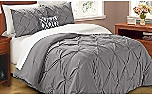 Cathay Home Oasis Pintuck Comforter Set, Twin, Grey