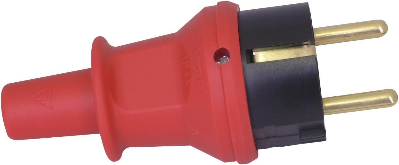 250 V Rojo Kopp Enchufe de contacto de puesta a tierra y protecci/ón contra torceduras hasta 3 x 1.5 mm/²