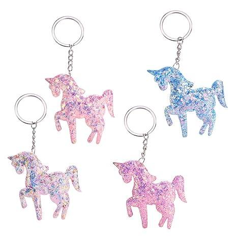 Amosfun 4 llaveros de Unicornio decoración de Fiestas de ...