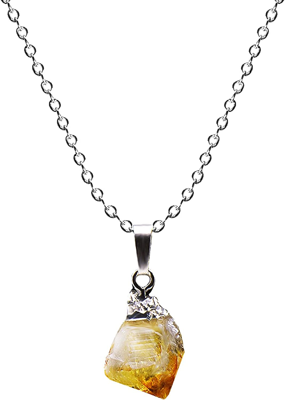 Paialco - Collar con colgante de citrino amarillo natural, 46 cm