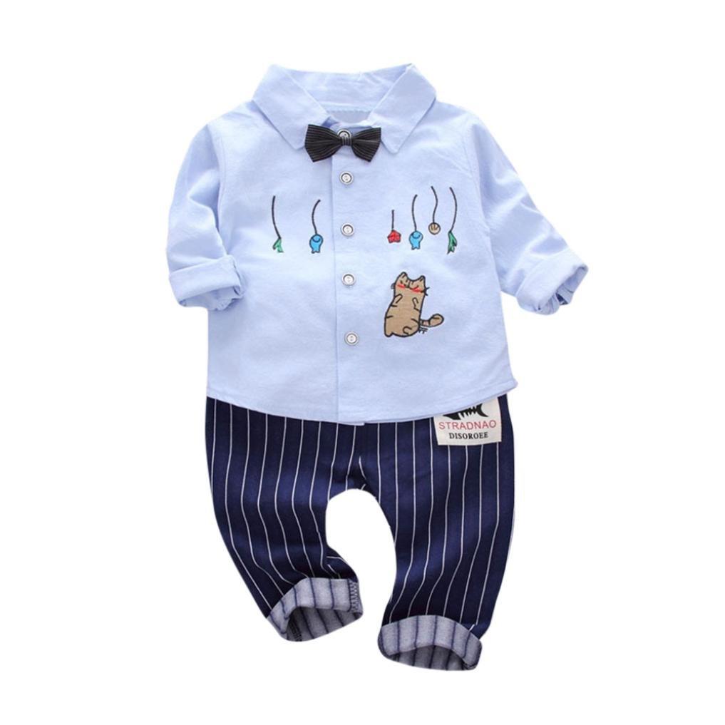 Staron 2PC Kids Toddler Baby Clothes Set Boy Cat Print Tops+Pants Cartoon Outfits