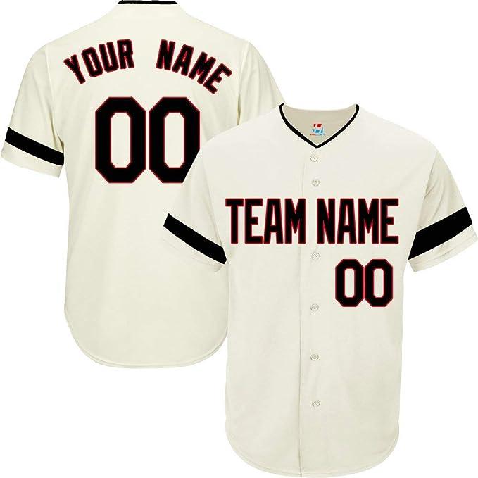 Amazon.com: Camiseta de béisbol personalizada color crema ...