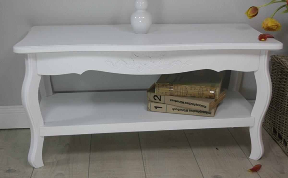 Elbmbel Tisch Couchtisch 88 X 44cm Weiss Antik Barock Holz Landhaus Cottage Beistelltisch Amazonde Kche Haushalt