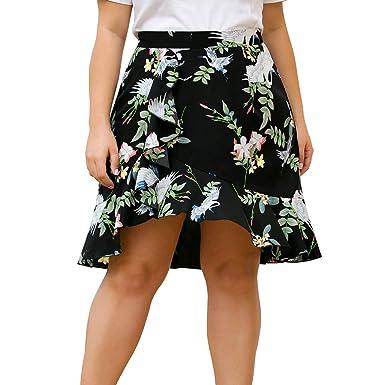 Faldas Mujer Verano Gran tamaño Cintura Alta con Volantes Dividida ...