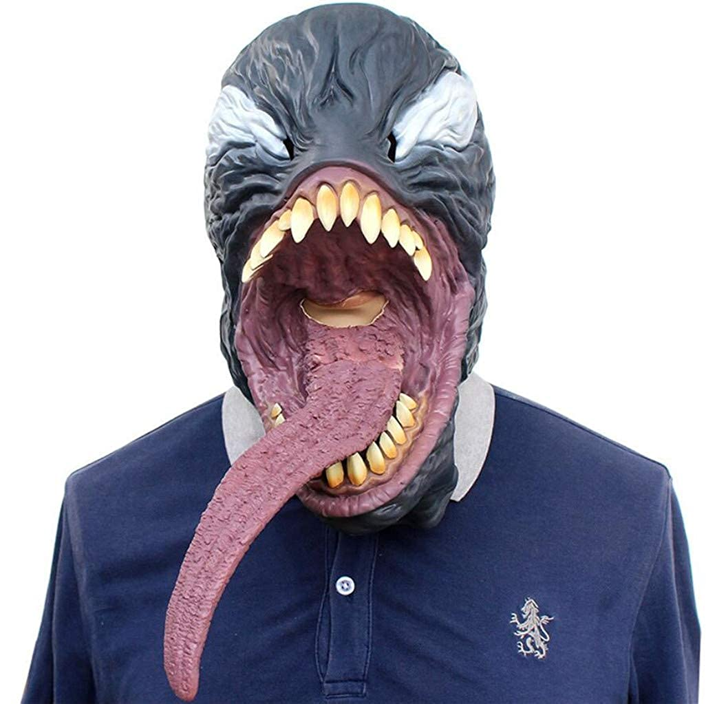Amazon.com: Halloween Novelty Mask Scary Halloween Costume Mask Cosplay  Party Props Mask Creepy Latex Head Mask Men (Agent Venom): Clothing