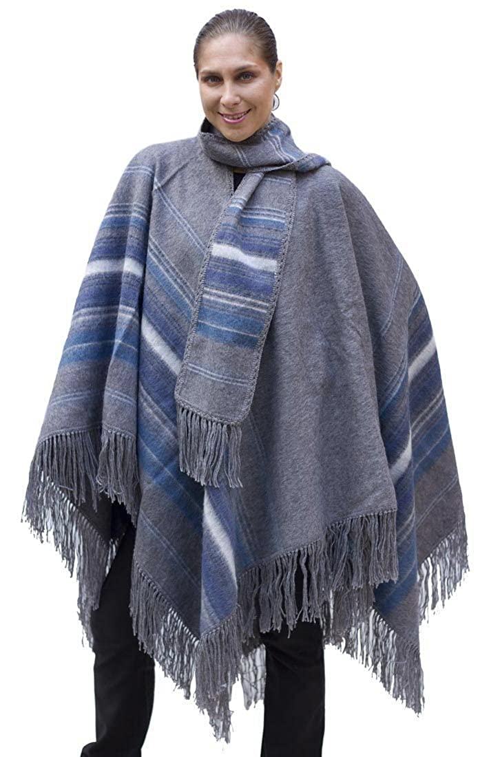 Ethnic Natural Alpaca Wool Poncho Cape Cloak with matching Scarf Gray One Sz