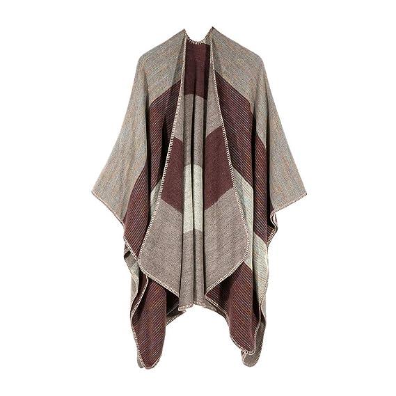 Yvelands Mujer Invierno Punto Cachemira Poncho Capas Chal Chaquetas Suéter Abrigo Blusa(Caqui, Free Size): Amazon.es: Ropa y accesorios