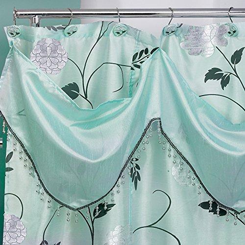 Popular Bath Shower Curtain with Valance, Avantie Collection, 70'' x 72'', Aqua